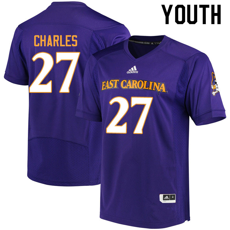 Youth #27 Daniel Charles ECU Pirates College Football Jerseys Sale-Purple
